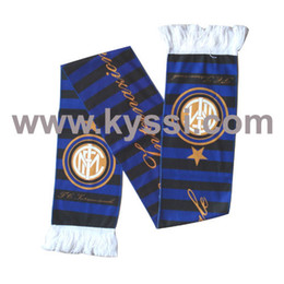 Wholesale FC Internazionale Milan Club Team Sublimation Printed Polyester Fleece Soccer Scarf Football Scarf Retail
