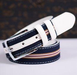 2016 New Designer Famous Brand Luxury Belts Women Men Belts Male Waist Strap Faux Cowskin Leather and Canvas Alloy Buckle Belt