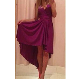 Wholesale- Newest Women Sexy V Neck Chiffon Long Beach Dress Asymmetrical Dress PTCT