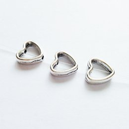 Wholesale 100pcs x12mm Antique Silver Metal Ripple Love Heart Bead Frames Spacer Charms Zinc Alloy Connector Split Rings Spacers Bead