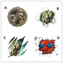 3d dinosaurs cartoon wall stickers home decoration spiderman wall stickers kids room wall decal movie mural art