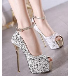 Wholesale 2016 Fancy Sequined Ankle Strap Shoes High Heels Peep Toe Platform Pumps Sexy Ladies party club wear size to