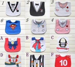 Wholesale Baby Tuxedo Gentleman Feeding Bibs Baby Kids Waterproof Superman Pinny Burp Cloths Designs for