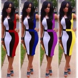 Wholesale fashion Sexy Patchwork Bodycon Dresses Ladies Plus Size Sleeveless Silm Mini Night Out Club Formal Prom Party Short Dress Women Clothes
