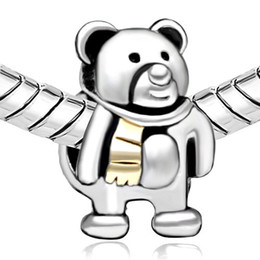 Rhodium Silver Color And Gold Plating Teddy Bear Wear Gold Scarf Bead Charm Fit Pandora Bracelet