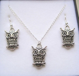 Wholesale MIC Antique silver Owl Gift Set Necklace Earrings Jewelry Set