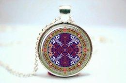 Wholesale 10pcs Kuwait Jewelry Kuwait Mandala Glass Pendant Necklace Kuwait Decoration Glass Photo Cabochon Necklace