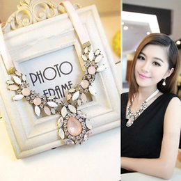 Wholesale Korea jewelry explosions night dianfeng cherry powder pink crystal flower luxury necklace Fashion women jewelry