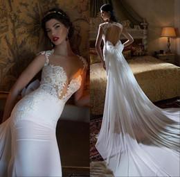 vestidos 2018 New Sheer Berta Mermaids Wedding Dresses Sweetheart White Lace Beading Crystal Train Open Back Formal Bridal Gowns