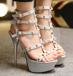 Wholesale 2016 new fashion patent leather ankle strap sandals crisscross strappy T bar gold sequined high heels
