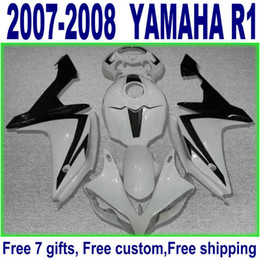 100% fit for YAMAHA YZF R1 2007 2008 black white high quality fairings set YZF-R1 07 08 fairing kit YQ83
