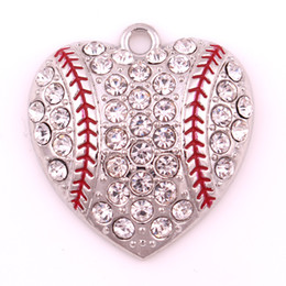Sport Jewelry New products free ship 10pcs a lot rhodium plated zinc with sparkling crystals Baseball or softball Heart sports Pendant
