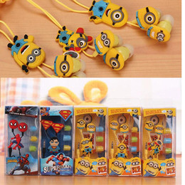Wholesale Clear Voice Cartoon In ear Earphones Wired mm Headphone D Despicable Me Minions Model Headset For Iphone MP3 MP4 Cell Phone