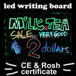 Wholesale Colors LED Writing Sparkle Board Sign remote Flashing Illuminated Erasable led Message writing board Menu for advertising