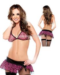 Wholesale Lingerie Model String - w1023 sexy lingerie lace red leopard top bra+dress+g string women sexy underwear model lingerie