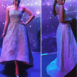 Sonam Kapoor Lace Applique Bead Sequins Hi-Lo Evening Dresses With Sash Elie Saab Red Carpet Celebrity Dress Sexy Party Prom Gowns Vestidos