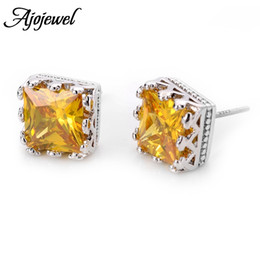 010 Gold Red Clear Purple Champagne Women's Square Cubic Zircon Stud Earrings Silver