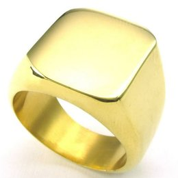 Mens Stainless Steel Ring Signet Gold US Size 7 to 15 Drop Shipping