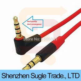 Wholesale ft mm L shape Degree Male to Male Earphone Extension Cable Audio Adapt for Monster beats headphone cell phone