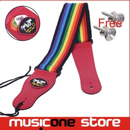 New Guitar Strap Rainbow Pattern Colourful Strap with Pick Holder Red End MU0442