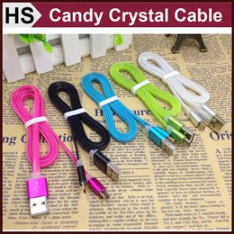 Wholesale Crystal Candy Color USB Cable For Cell Phones Samsung HTC LG Sony Power Charging Charge Data Transfer Sync Cord Wire DHL