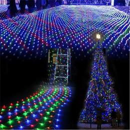 Rgb led net à vendre-Gros-gros 5pieces 1.5Mx1.5M 96 LED de lumières de Noël net cordes de Noël féerique mariage vacances Party Decoration AC220V