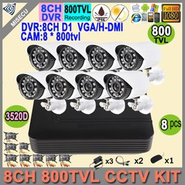 Wholesale Security Camera Outdoor Housings - Hot 8CH D1 VGA 1080P HDMI DVR 8p 800TVL CCTV Camera 24LEDs IR Outdoor Waterproof Metal Housing Home Security System Kits No HDD