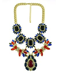 European Style Gold Plated Alloy chains adjustable crystal resin rhinestone drop flower choker statement necklace