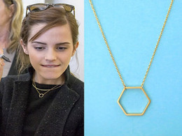 30PCS- N004 Silver Gold Geometric Hexagon Necklace Simple Sexangle Neckalces Open Line Hive Hexagon Necklace for Women