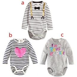 3 Colors 2015 new Children stripe Long sleeve rompers cartoon boys and girls lovely stripe baby one-piece