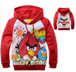 Wholesale single children s sweater cartoon bird pattern hooded sweater boys and girls sports Angry sweater Free