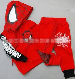 Wholesale Kids Spiderman Sweaters - 18%OFF NEW ARRIVAL trousers Boys Spiderman jacket hoodies Outerwear coat kids clothes Hooded Sweater(5pcsT shirt + 5pcs pants) 10pcs   DM