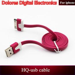 2017 cargos cables iphone Al por mayor-Flat de carga USB de sincronización de fideos cable cargador cable de cables de transferencia de datos de colores de la mezcla 100cm len gth para el iPhone 4 4S 4G cargos cables iphone Rebaja
