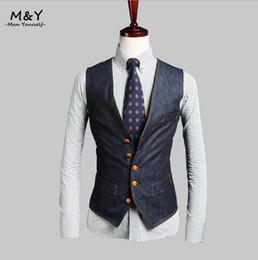Fall- Men Jean Vest Jacket Sleeveless Jacket Men Cowboy Vests Formal Colete Male Coletes Vestes