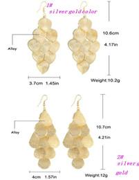 Wholesale New European Desgins Fashion Punk Jewelry Earrings Silver Gold Tone Leaf Tassel Drop Earrings Long Dangle Earrings For Women HZ