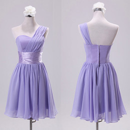 Cheap Bridesmaid Dress under 50 A Line Ruched Chiffon Sweetheart One Shoulder Strap Short Wedding Party Gowns