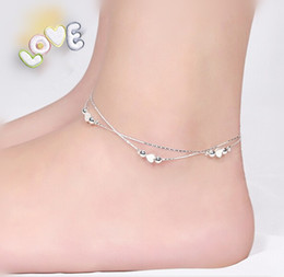 Wholesale Buy Two Get One Free sterling Silver Anklet Unique Nice Sexy Simple Beads Silver Chain Anklet Ankle Foot Jewelry