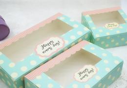 10pcs vente chaude bleue Polka dots paquet de biscuits boîte fenêtre transparente - Wedding / Party Favor - cupcake / Macaron / bonbons Emballage - Boîte cadeau à partir de boîte de petit gâteau de faveur de fête de mariage fournisseurs