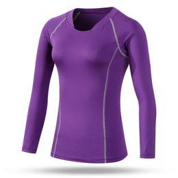 2017 capas base de manga larga jersey de ropa de fitness correr en bicicleta de gimnasio de la camiseta de las mujeres de compresión de los deportes al por mayor-Mujeres de la capa de base térmica dy rápida descuento capas base