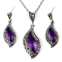 Wholesale Euramerican Style Diamond Shining Top Quality Antique Personality Amaranth Necklace Earrings Suit for Women For One Set