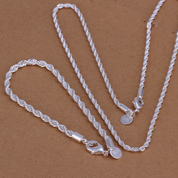 High grade 925 sterling silver Twisted rope flash piece - Men jewelry set DFMSS051 brand new Factory direct 925 silver necklace bracelet
