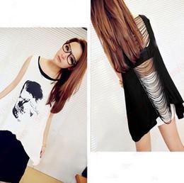 New 2014 Hot Irregular Hollow Tassel Skull Printed Women Tank Tops,Casual Women Pullovers,Summer Women Clothing