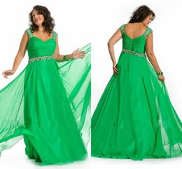 Wholesale Plus Size Emerald Green A Line Spaghetti Straps Evening Dresses Chiffon Ruched Beads Floor Length Prom Gowns For Fat Women Big Size
