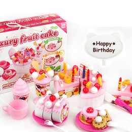 Wholesale Girls Cooking Set Children play house toys Kitchen Cookware Set fruit birthday cake honestly creative assembling toys