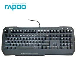 Teclado para juegos de luz de fondo azul en venta-Teclado mayor-Rappo V700s Gaming Mecánica Blanca Luz de fondo CF LOL computadora de escritorio USB Keyboard Rappo MX Azul / Marrón / Negro