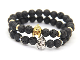 Wholesale New Fashion Spartan Warrior Helmet Bracelet with Round Lava Energy stone beads men bracelet Best Gift