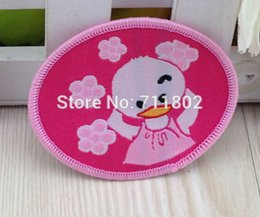 Wholesale PINK duck patch Sew on Woven label clothes patches Animated cartoon embroidered kid s girl accessories