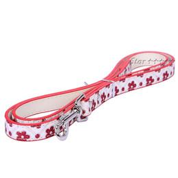 Wholesale Glitter Flower Pint Pet Dog Collar Cute Fower Lash PU Material Dog Leash Red Ad Blue Pet Lad Pduct CM