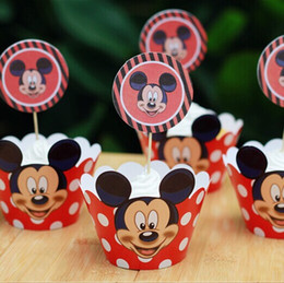 Wholesale Movie Classic MK Mouse Cupcake Wrapper Decorating Boxes Cake Cup With Toppers Picks For Kids Birthday Christmas Decorations Supplies