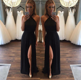 Blush Pink Black Side Split Long Bridesmaid Dresses Prom Dresses Halter Ruched Keyhole Neckline Open Slit Party Cocktail Dresses